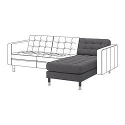 LANDSKRONA - Chaise longue, unit tambahan, Gunnared abu-abu tua/logam