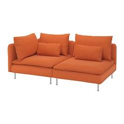 SÖDERHAMN - 3-seat sofa, with open end/Samsta orange