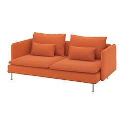 SÖDERHAMN - 3-seat sofa, Samsta orange