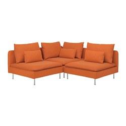 SÖDERHAMN - Corner sofa, 3-seat, Samsta orange
