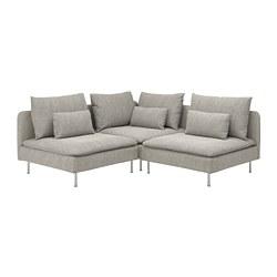 SÖDERHAMN - Corner sofa, 3-seat, Viarp beige/brown