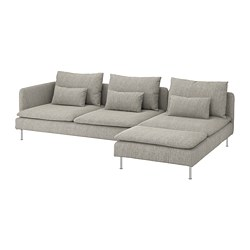 SÖDERHAMN - 4-seat sofa, with chaise longue and open end/Viarp beige/brown