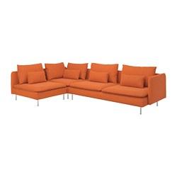 SÖDERHAMN - Corner sofa, 4-seat, with open end/Samsta orange