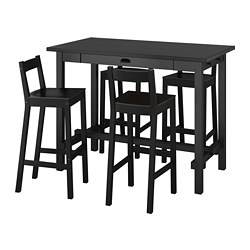 NORDVIKEN/NORDVIKEN - Bar table and 4 bar stools, black/black