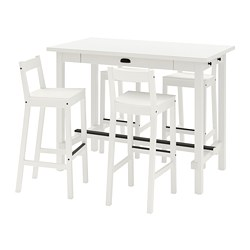 NORDVIKEN/NORDVIKEN - Bar table and 4 bar stools, white/white