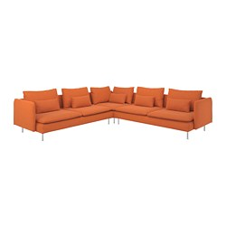 SÖDERHAMN - Corner sofa, 6-seat, Samsta orange