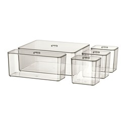 GODMORGON - Box with lid, set of 5, smoked