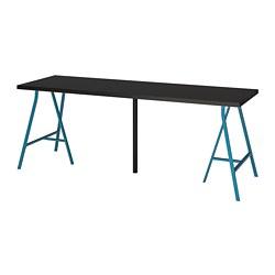 LERBERG/LINNMON - Meja, hitam-cokelat/biru