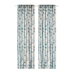 FJÄLLMÄTARE - Curtains, 1 pair, beige/blue