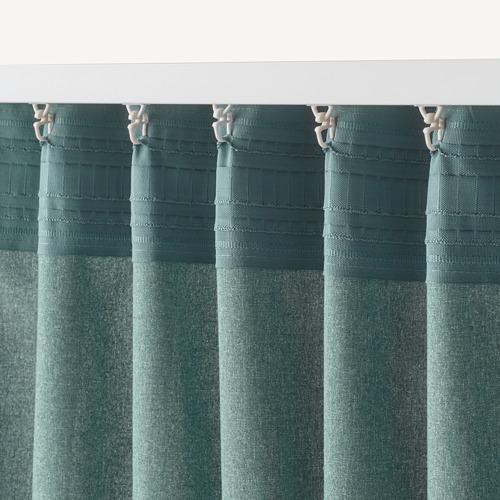 HANNALENA - room darkening curtains, 1 pair, green-blue, 145x250 cm | IKEA Indonesia - PE769373_S4