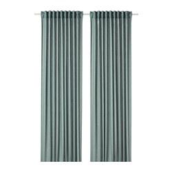 HANNALENA - Room darkening curtains, 1 pair, green-blue