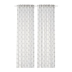 REIDUNN - Curtains, 1 pair, white/grey
