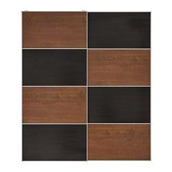 MEHAMN - Pair of sliding doors, black-brown stained ash effect/brown stained ash effect