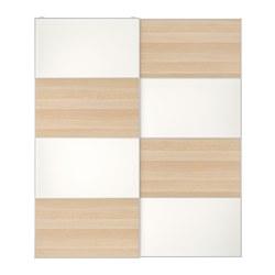 MEHAMN - Pair of sliding doors, white stained oak effect/white