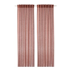 LEJONGAP - Curtains, 1 pair, light brown-pink