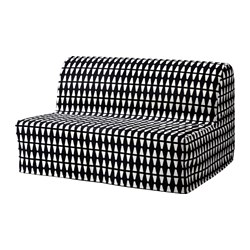 LYCKSELE HÅVET - Two-seat sofa-bed, Ebbarp black/white