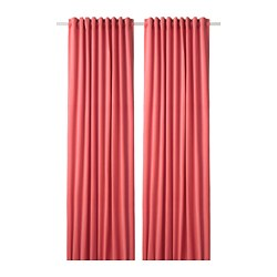 SANELA - Room darkening curtains, 1 pair, light brown-red