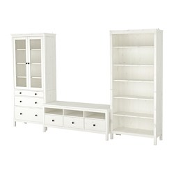HEMNES - TV storage combination, white stain/clear glass