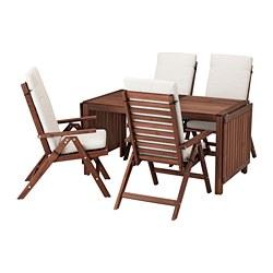 ÄPPLARÖ - Meja+4 kursi recliner, l.ruang, diwarnai cokelat/Frösön/Duvholmen krem