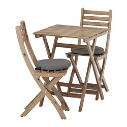 ASKHOLMEN - Meja dan 2 kursi lipat, luar ruang, diwarnai abu-abu cokelat/Frösön/Duvholmen abu-abu tua
