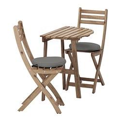 ASKHOLMEN - Meja dinding+2 kursi lipat, l.ruang, diwarnai abu-abu cokelat/Frösön/Duvholmen abu-abu tua