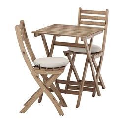 ASKHOLMEN - Meja dan 2 kursi lipat, luar ruang, diwarnai abu-abu cokelat/Frösön/Duvholmen krem