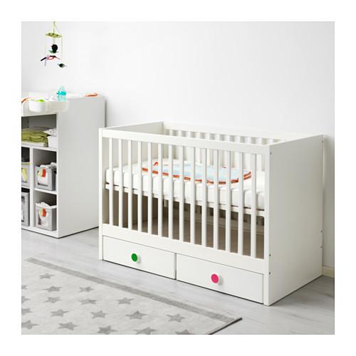 STUVA/FÖLJA ranjang bayi dengan laci
