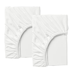 LEN - Fitted sheet for ext bed, set of 2, white