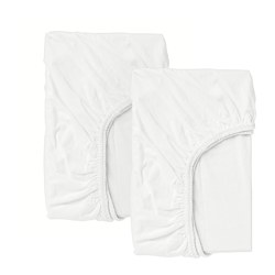 LEN - Fitted sheet for cot, white