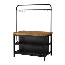 VADHOLMA - Kitchen island with rack, black/oak