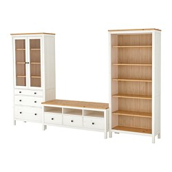 HEMNES - TV storage combination, white stain/light brown clear glass