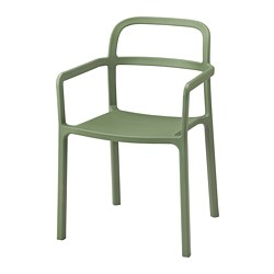 YPPERLIG - Chair with armrests, in/outdoor, green