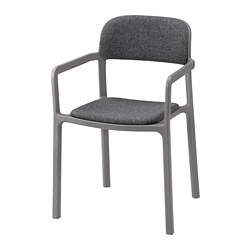 YPPERLIG - Chair with armrests, Gunnared dark grey