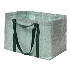 YPPERLIG - Carrier bag, large, green/white