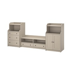 HAUGA - Kombinasi TV/penyimpanan, krem, 277x46x116 cm