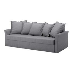 HOLMSUND - Three-seat sofa-bed, Nordvalla medium grey