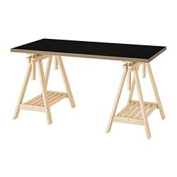 FINNVARD/LINNMON - Table, black/plywood birch