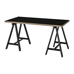 ODDVALD/LINNMON - Table, black plywood/black