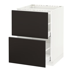 METOD - Base cab f hob/2 fronts/2 drawers, white Maximera/Kungsbacka anthracite