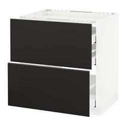 METOD/MAXIMERA - Kab dasar u kompor/2 bag dpn/3 laci, putih/Kungsbacka antrasit