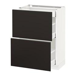 METOD/MAXIMERA - Kab dasar dg 2 pintu/3 laci, putih/Kungsbacka antrasit