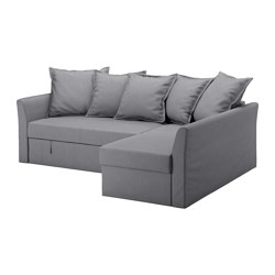 HOLMSUND - Corner sofa-bed, Nordvalla medium grey