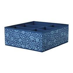 STORSTABBE - Kotak dengan kompartemen, biru/putih