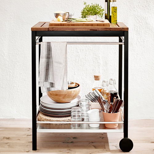 KLASEN - trolley, outdoor, stainless steel/brown stained   IKEA Indonesia - PE566002_S4