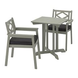 BONDHOLMEN - Table+2 chairs w armrests, outdoor, grey stained/Järpön/Duvholmen anthracite
