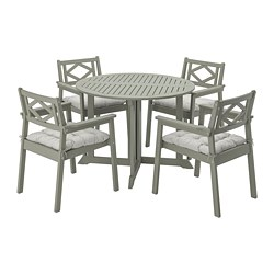 BONDHOLMEN - Table+4 chairs w armrests, outdoor, grey stained/Kuddarna grey