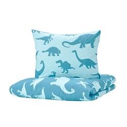 JÄTTELIK - Sarung quilt dan sarung bantal, dinosaurus/biru