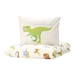 JÄTTELIK - Sarung quilt dan sarung bantal, dinosaurs/putih
