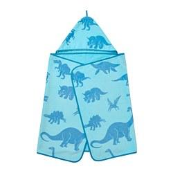 JÄTTELIK - Handuk dengan penutup kepala, dinosaurus/biru
