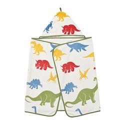 JÄTTELIK - Handuk dengan penutup kepala, dinosaurus/aneka warna